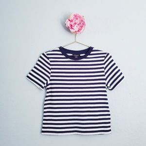 Topshop Navy & White Striped Crewneck Tee
